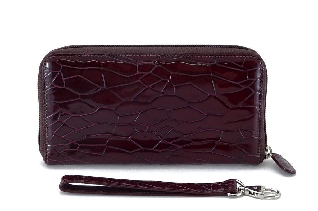 Victoria  Burgundy foil leather ladies zip around purse front view side 2