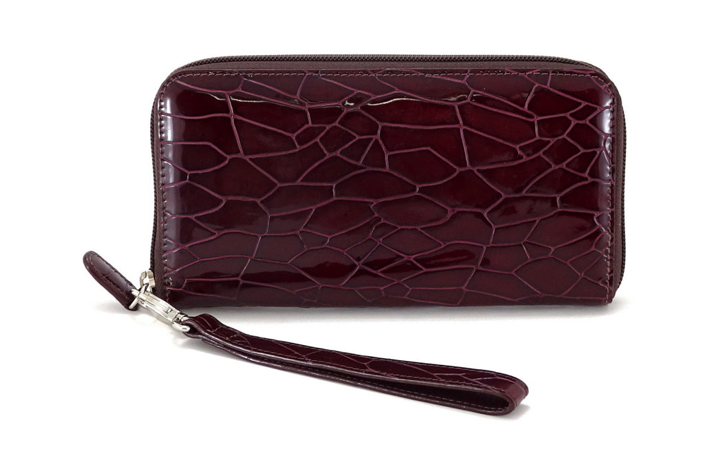 Victoria  Burgundy foil leather ladies zip around purse front view side 1