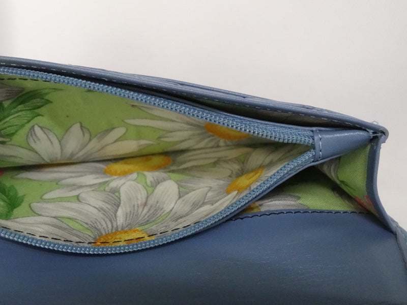 Caitlin  Sky Blue leather daisy fabric button detail ladies purse showing coin zip section