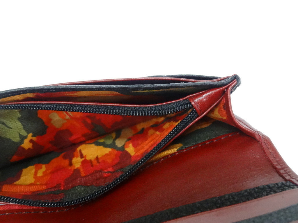 Caitlin  Chilli leather with flower detail ladies purse showing zip coin section