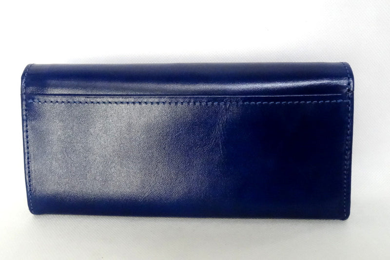 Caitlin  Royal blue leather with rojo ostrich leg detail ladies purse back view