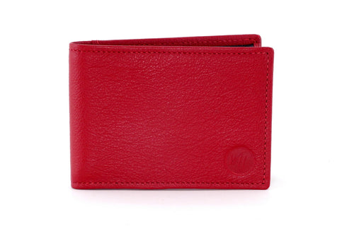 Tristan  Red leather black internals small men's wallet front view showing Logo