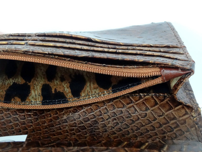 Caitlin  Copper snake print leather ladies purse showing zip coin section