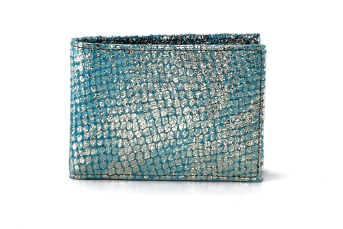 Tristan  Mermaid blue metallic leather small men's wallet front view