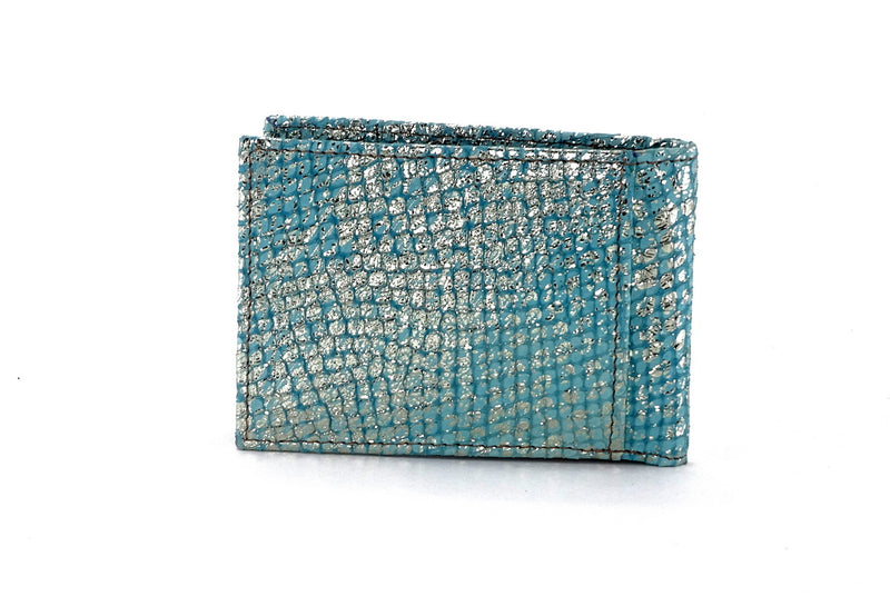 Tristan  Mermaid blue metallic leather small men's wallet back view