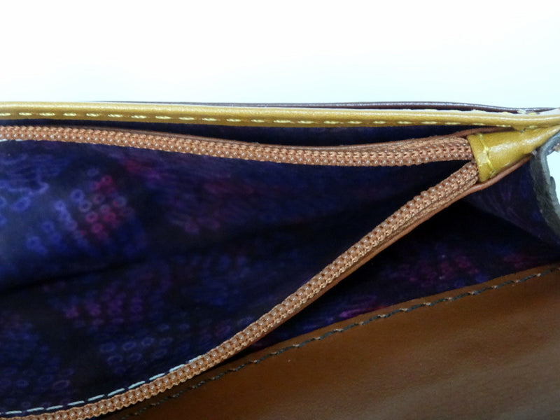 Caitlin  Brown ostrich ladies purse showing zip coin section