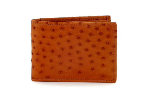 Tristan  Reddish tan ostrich skin small men's wallet front view