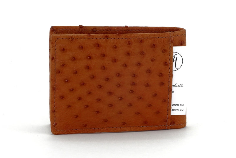 Tristan  Reddish tan ostrich skin small men's wallet showing back slip pocket