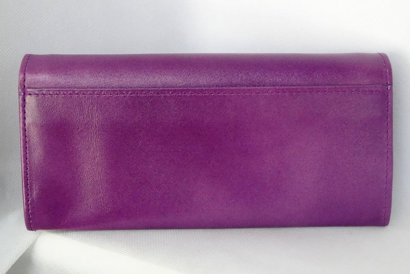 Caitlin  Purple leather red strap buckle stud detail ladies purse back pocket view