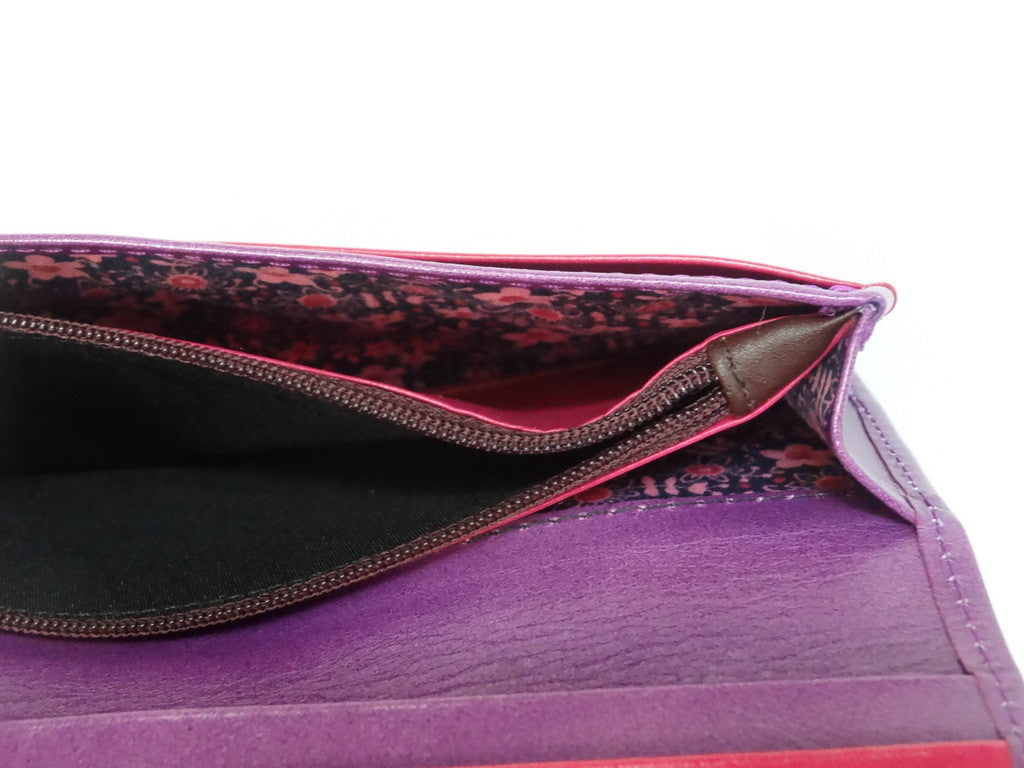 Caitlin  Purple leather red strap buckle stud detail ladies purse showing coin zip section