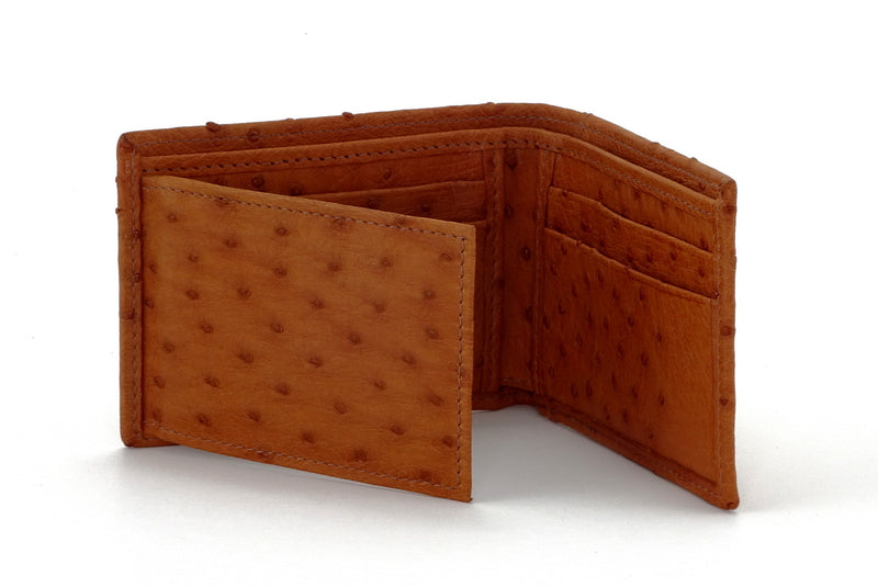 Tristan  Reddish tan ostrich skin small men's wallet inside view