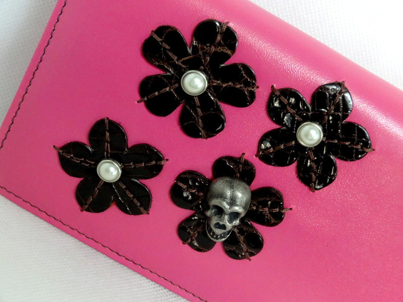 Caitlin  Pink leather with flower, pearls & skull detail ladies purse