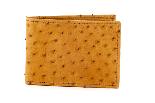 Tristan  Saddle tan ostrich skin small men's wallet front view