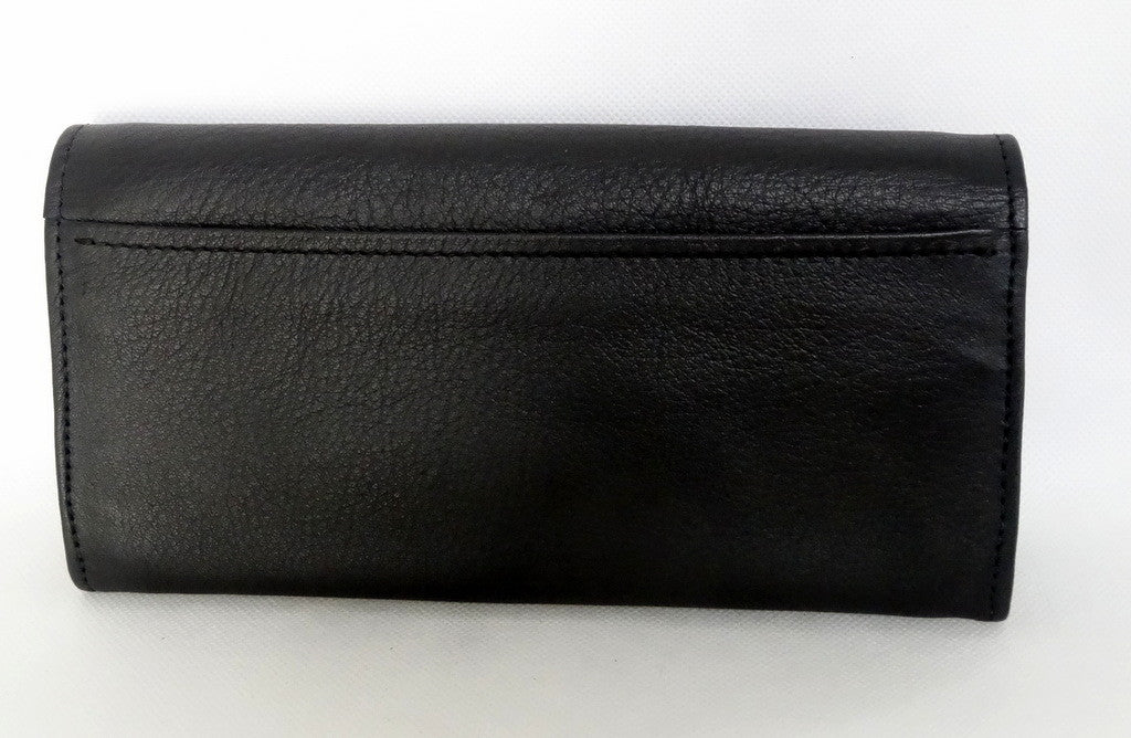 Caitlin  Black leather with red accents ladies purse back pocket view