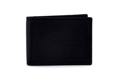 Tristan Black textured leather men's small bi fold hip wallet showing front view