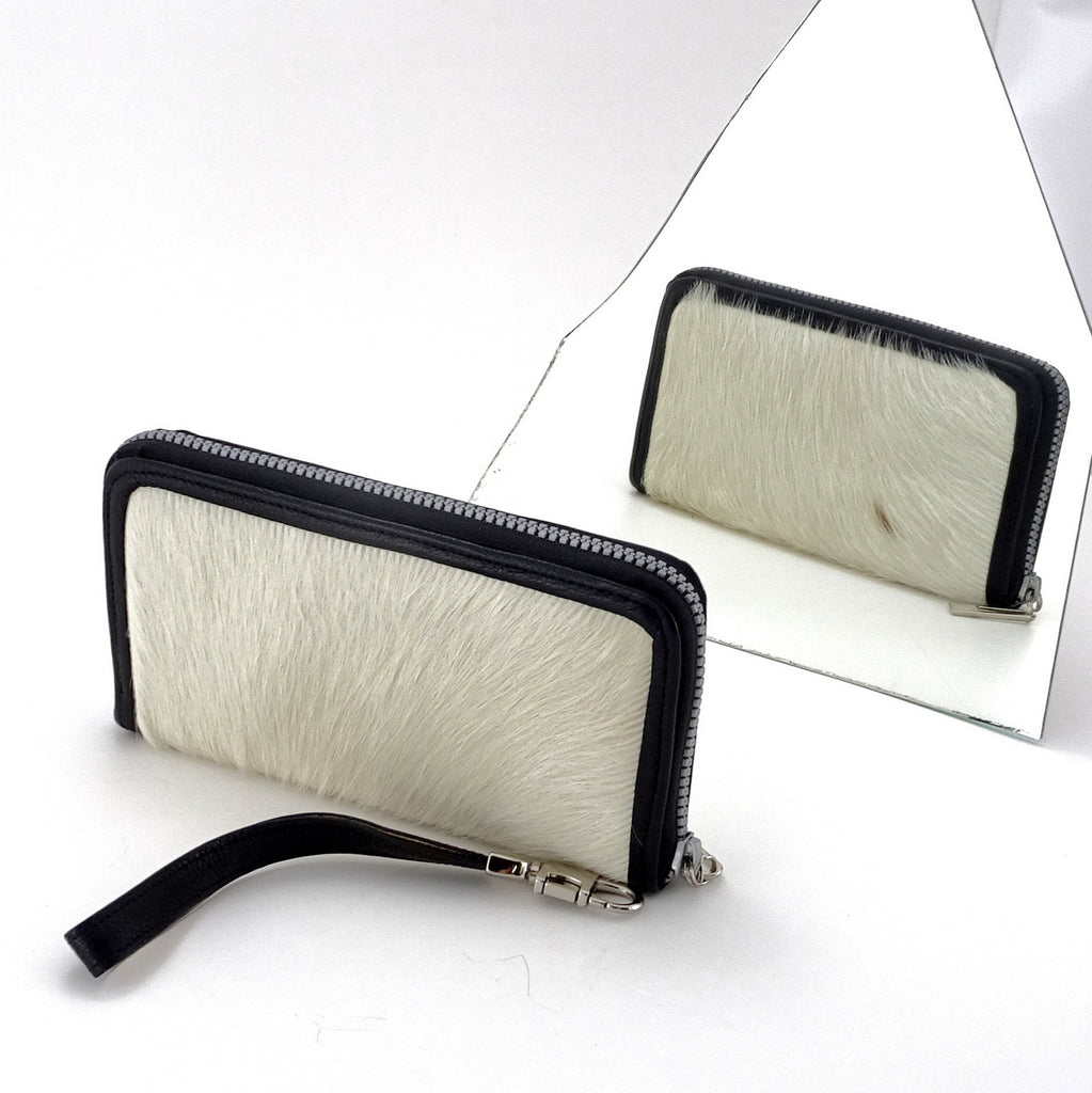 Victoria  White hair on cow hide leather ladies zip around purse mirror view