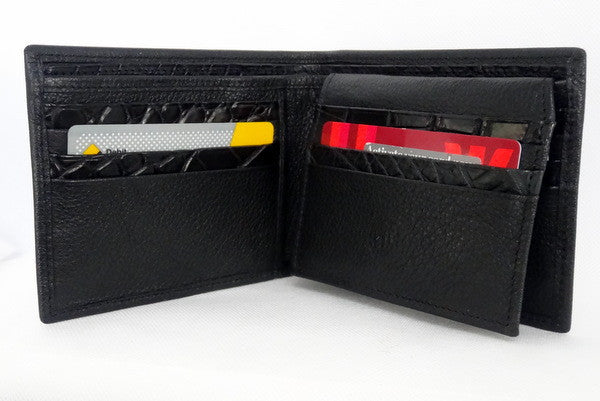 Martin  Black leather men's wallet inside pocket layout