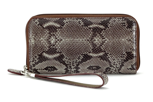 Victoria  Grey snake print leather ladies zip around purse view side 1