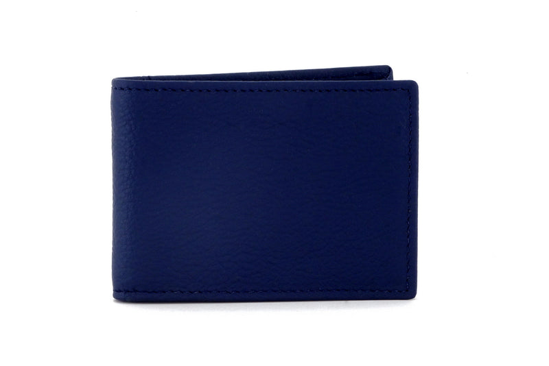 Tristan Storm cloud blue leather men's small bi fold hip wallet front view