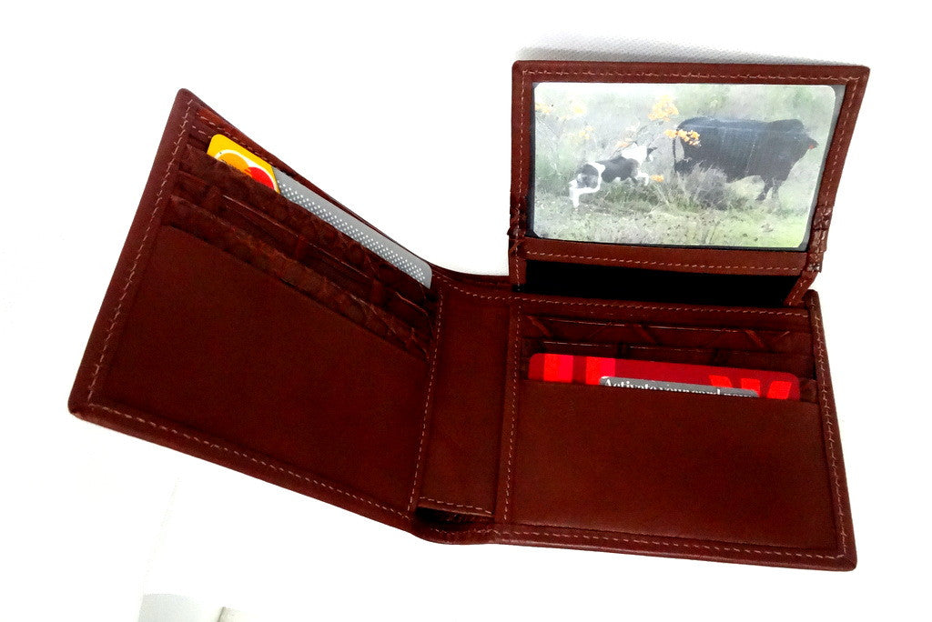 Martin  Rust brown leather men's hip wallet picture window flap