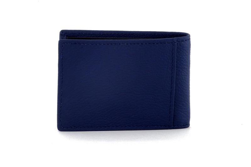 Tristan Storm cloud blue leather men's small bi fold hip wallet back view