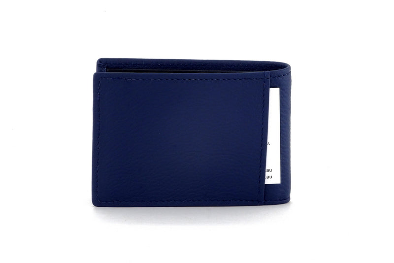 Tristan Storm cloud blue leather men's small bi fold hip wallet showing back slip pocket