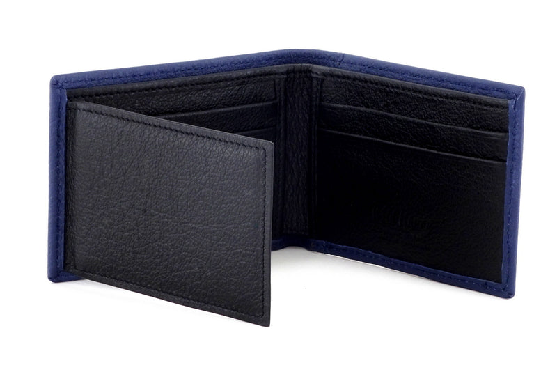 Tristan Storm cloud blue leather men's small bi fold hip wallet showing internal layout