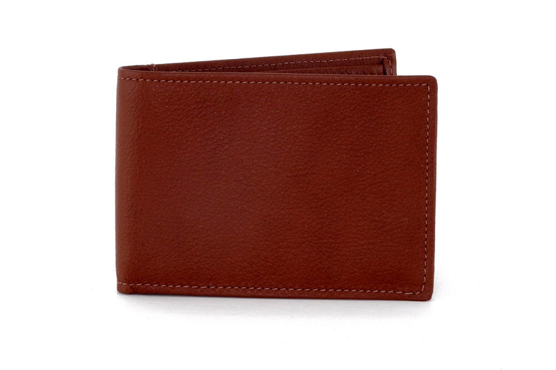 Tristan  Brown leather men's small bi fold hip wallet front view