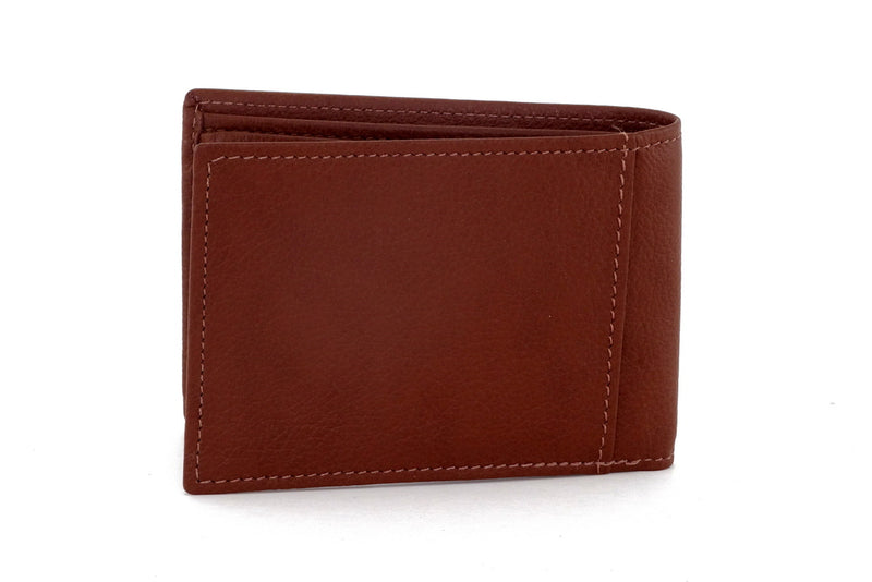 Tristan  Brown leather men's small bi fold hip wallet back view