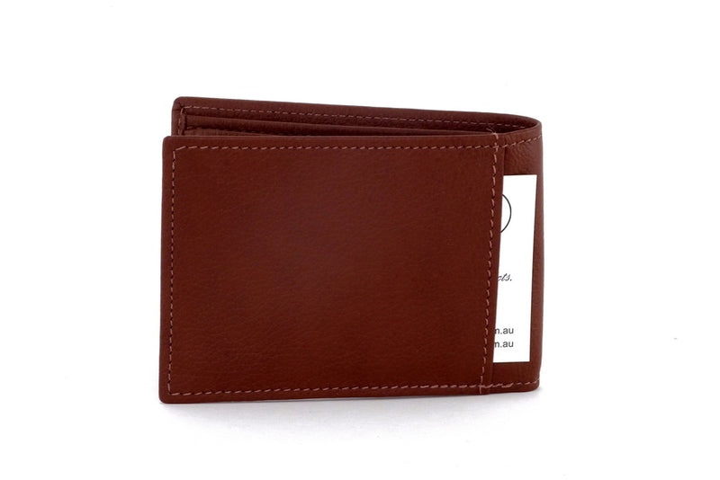 Tristan  Brown leather men's small bi fold hip wallet showing back slip pocket