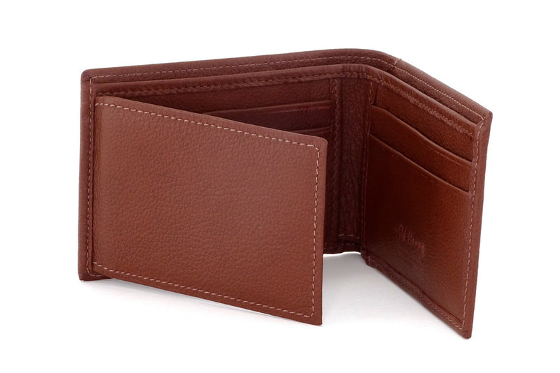 Tristan  Brown leather men's small bi fold hip wallet showing internal layout