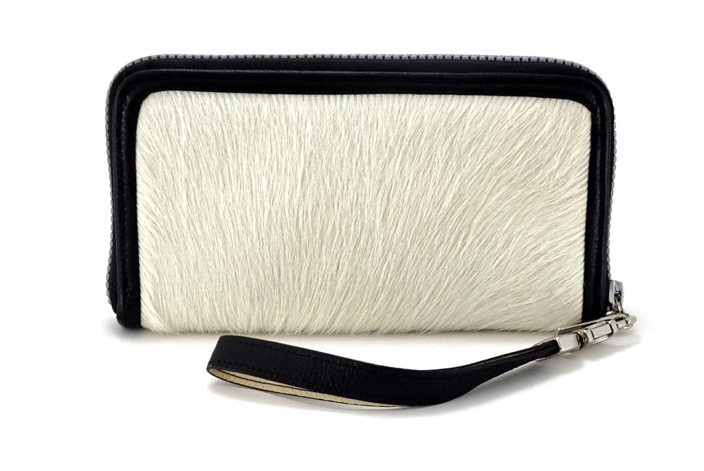 Victoria  White hair on cow hide leather ladies zip around purse view side 2