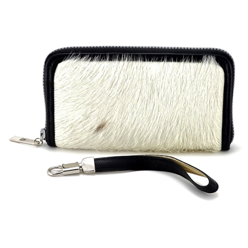 Victoria  White hair on cow hide leather ladies zip around purse view side 1
