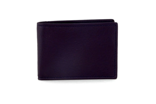 Tristan  Dark Purple with brown leather men's small wallet front view