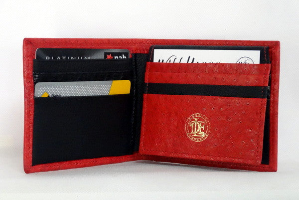 Mason  Red emu leather men's medium hip wallet inside pocket layout
