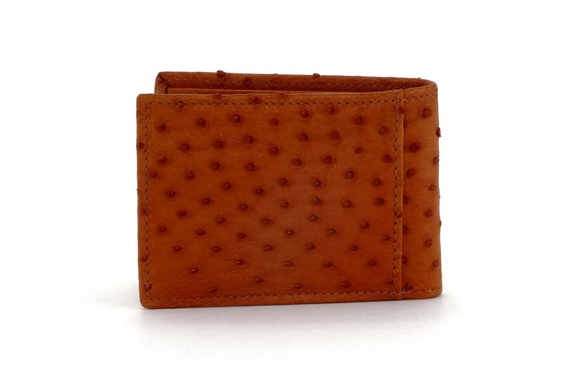 Tristan  Reddish tan ostrich skin small men's wallet back view