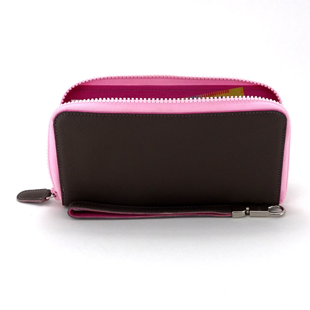 Victoria  Donkey brown leather pink edge ladies zip around purse side view inside in use