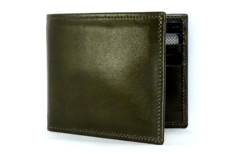 Mason  Olive green leather men's medium hip wallet front