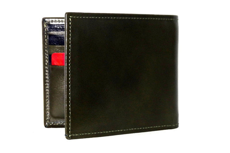 Mason  Olive green leather men's medium hip wallet back