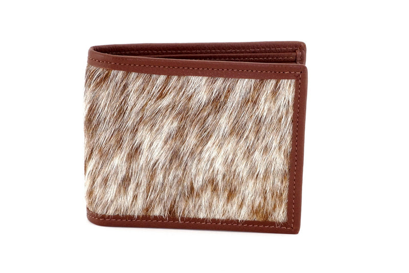 Martin  Tan & white Hair on hide & leather men's large bi fold hip wallet showing outside front