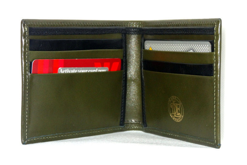 Mason  Olive green leather men's medium hip wallet inside pocket layout