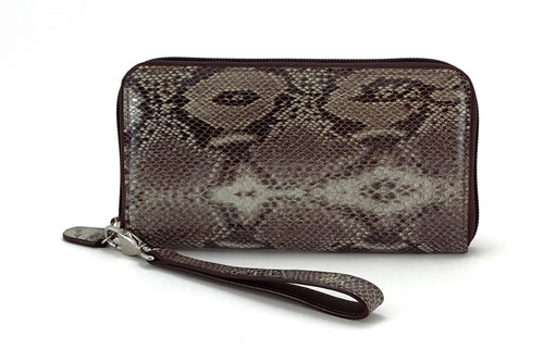 Victoria  Grey snake print leather olive inside ladies zip around purse view side 2