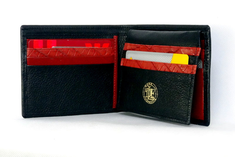 Mason  Black leather men's medium hip wallet with chilli internal inside pocket layout