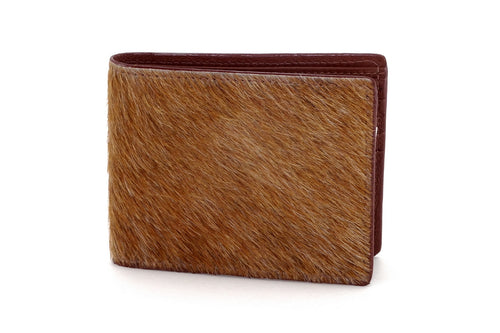 Martin  Brown Hair on hide leather men's large hip wallet front view