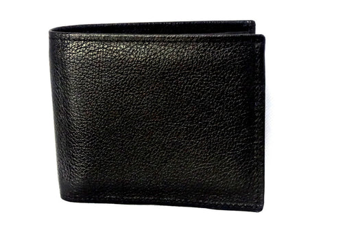 Mason  Black textured leather men's medium hip wallet front