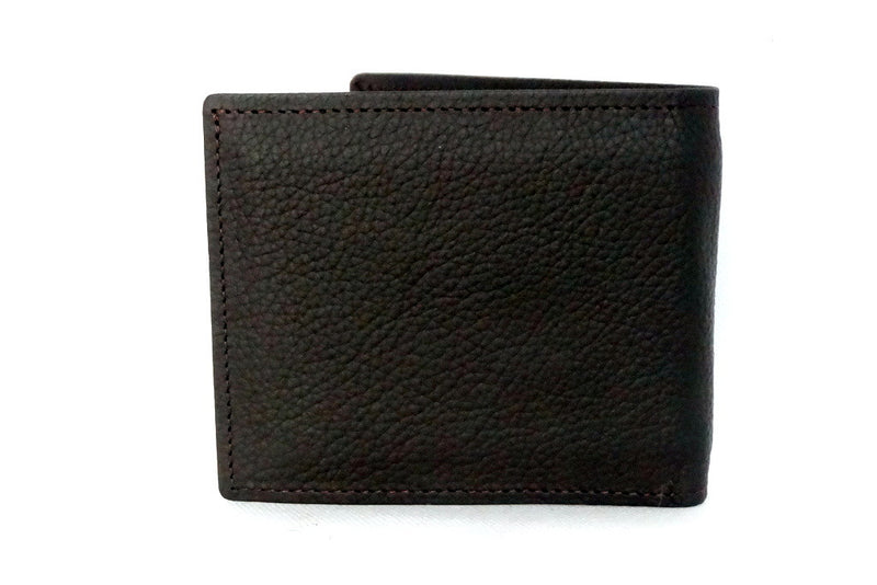 Mason  Brown leather men's medium hip wallet with pink internal back