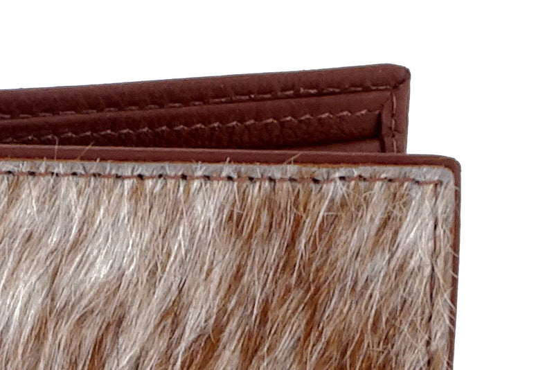 Martin  Brown & white Hair on hide & leather men's large bi fold hip wallet showing edge technique