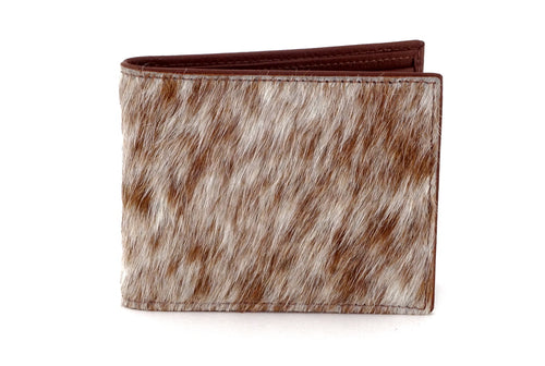 Martin  Brown & white Hair on hide & leather men's large bi fold hip wallet showing front