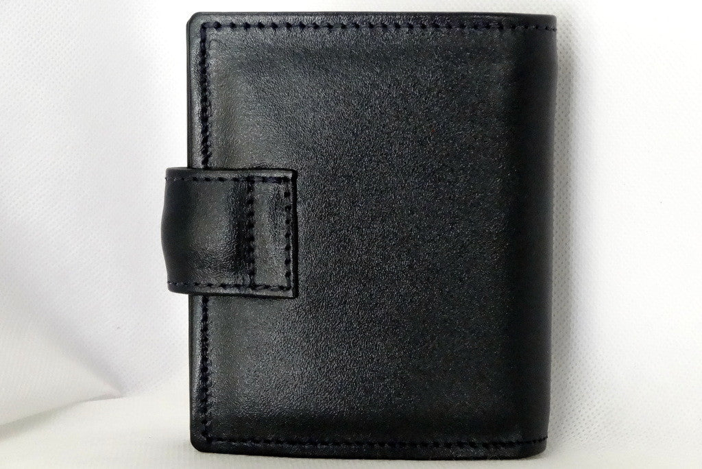 Daniel  Dark navy leather small men's wallet back view