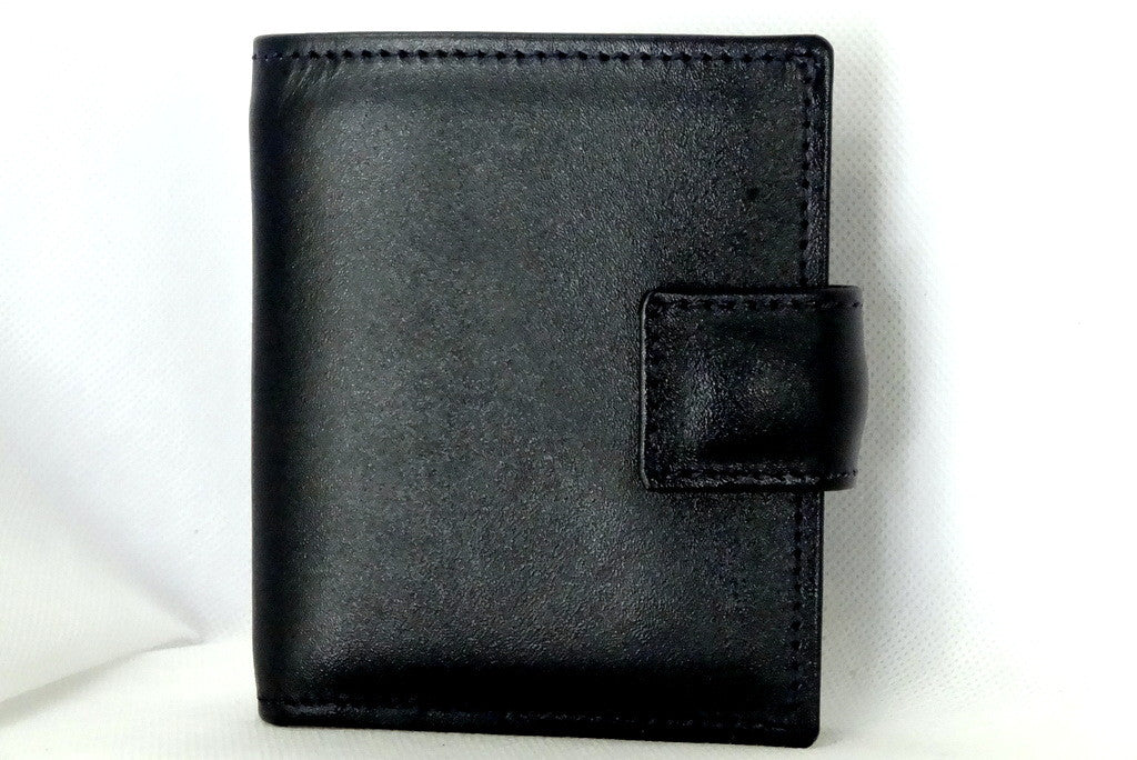 Daniel  Dark navy leather small men's wallet front view
